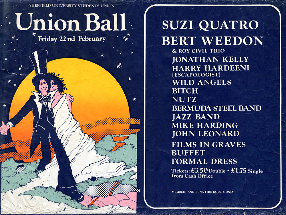 Union Ball poster, 1974. Photo supplied by Dr Mike Hayes (BA History 1975, MA Japanese Studies 1978, PhD Japanese Studies 1981).