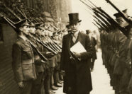 The Chancellor of the University, The Most Hon The Marquess of Crewe, inspecting members of the Officers' Training Corps on 29 June 1918.