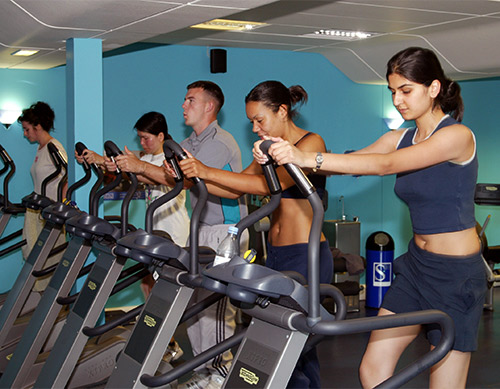 Students exercise in the new Goodwin Fitness Suite.