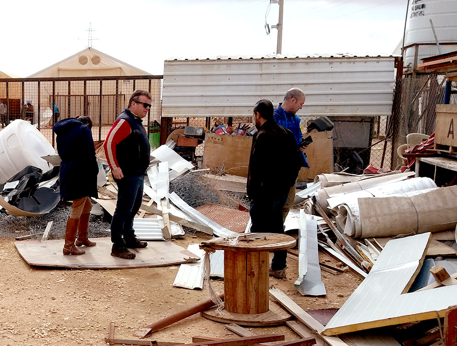 Professor Tony Ryan inspects the materials at the Zaatari refugee camp.