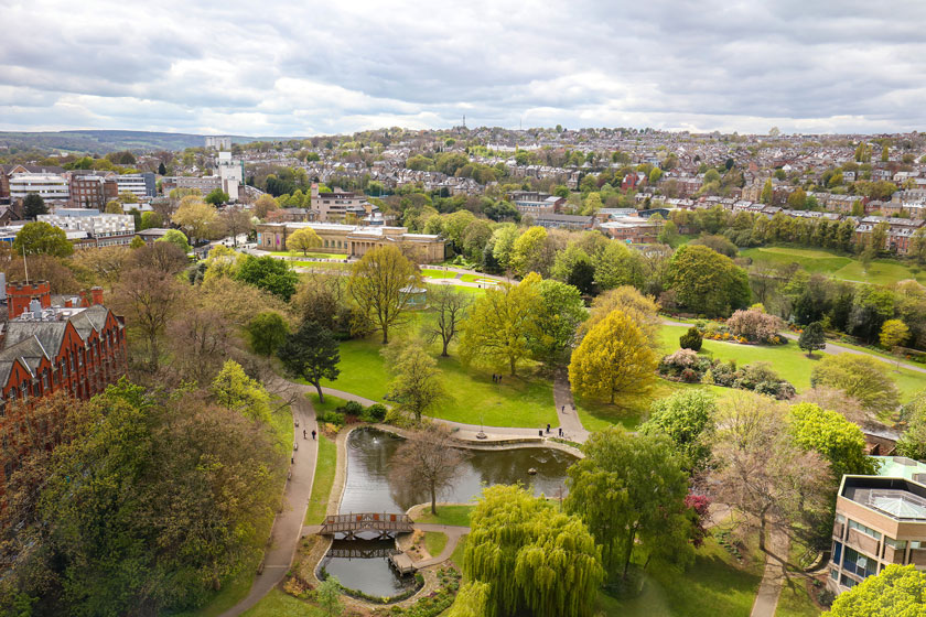 Aerial view of the University of Sheffield campus