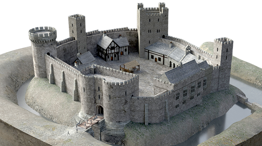 A virtual model of the castle, based on research led by Professor John Moreland