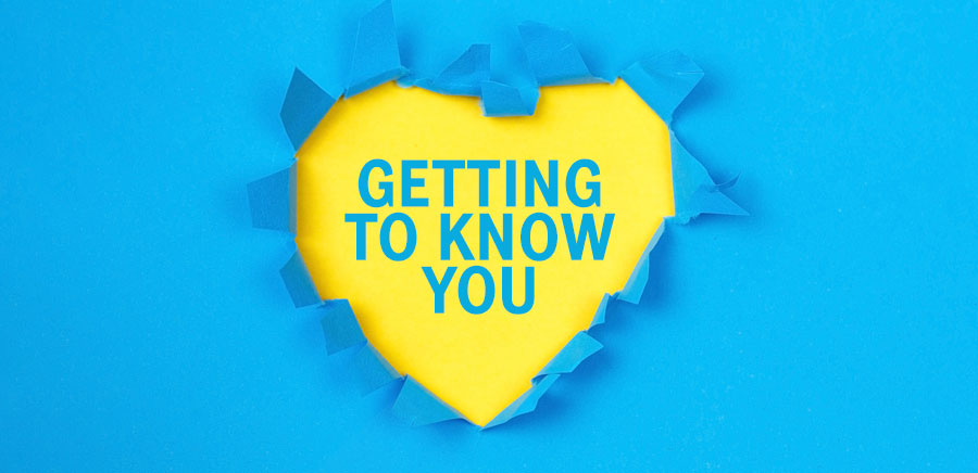 A heart with 'Getting to know you' in the middle